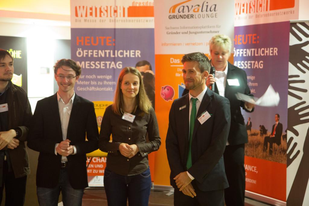 Die Sieger des avalia Gründerlounge Gründerwettbewerbes freuten sich über viele wertvolle Sachpreise: Matthias Lange, Yvonne Reichelt, Marco Schnell