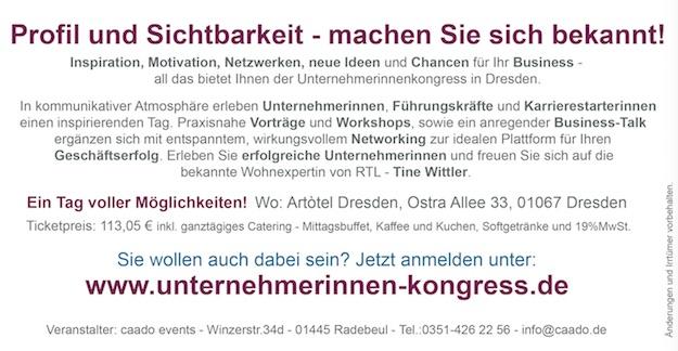 Unternehmerinnenkongress Dresden 2016 Anzeige