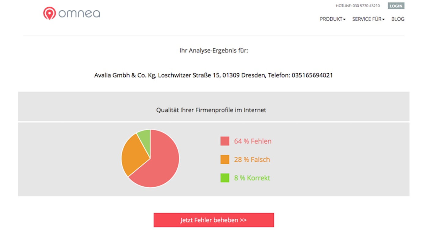 Erschütterndes Testergebnis für avalia.de: 64% der Angaben fehlen, 28 % sind falsch